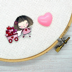 Needle Minder | Cart Full O Love | Needleminder | Magnet for Cross Stitch, Embro