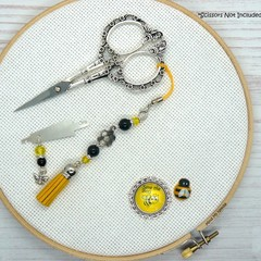 Bee Needlework Set | Scissor Fob, Needle Minder, Needle Threader | Cross Stitch,