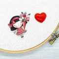 Needle Minder | Bouquet Of Love | Needleminder | Magnet for Cross Stitch, Embroi