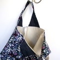 Project Bag, Small Knitting Crochet Craft Carry Bag - Floral Corduroy and Denim