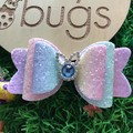 "Easter Bunny Pastel Hair Bow 4"" Rabbit Glitter clip"