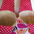 Project Bag, Small Knitting Crochet Craft Carry Bag - Pink and Orange, Polka Dot