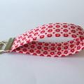 Wrist Key Fob / Key Ring - Tiny Red Flowers