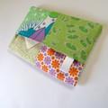 Travel Tissue Case, Pocket Tissue Holder - Green, Pink & Orange, Flowers,