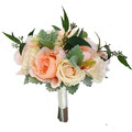 Peach Peony & Cream Rose Bridal Bouquet + Buttonhole - Silk Wedding Flowers