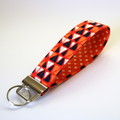 Wrist Key Fob / Keyring - Triangles on Orange, Polka Dots
