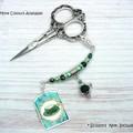Beaded Scissor Fob and Needle Minder : Tea For One | Needle Minder | Cross Stitc