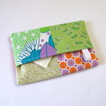 Travel Tissue Case, Pocket Tissue Holder - Green, Pink & Orange, Flowers,
