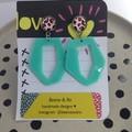 Mint geometric acrylic with leopard print earrings