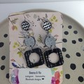 Triple layer black/white/silver earrings