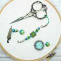 Green & Blue Mermaid Needlework Set: Scissor Fob, Needle Minder, Needle Threader