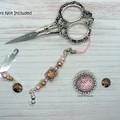 Amber & Pink Mermaid Needlework Set: Scissor Fob, Needle Minder, Needle Threader