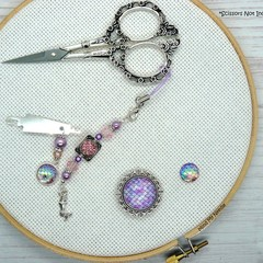 Pink & Lilac Mermaid Needlework Set: Scissor Fob, Needle Minder, Needle Threader