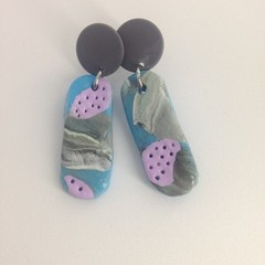 Blue/lilac/grey white polymer clay earrings