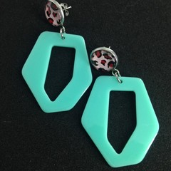 Mint geometric acrylic with leopard print earrings