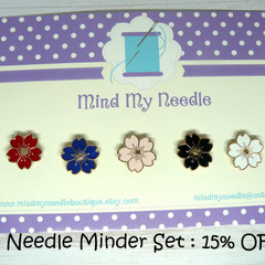 Needle Minder Set | Cherry Blosom | Needleminder | Magnet for Cross Stitch, Embr