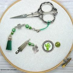 Cactus Needlework Set | Scissor Fob, Needle Minder, Needle Threader | Sewing