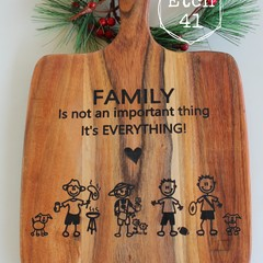 Personalised Etched Timber Acacia Boards - Stick Figure & Silhouette Family
