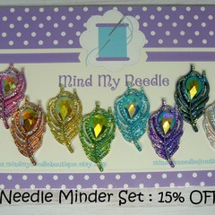 Needle Minder Set | Peacock Feather | Needleminder | Magnet for Cross Stitch, Em