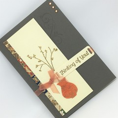 Thinking of You Card - Vase and Stem, Japanese Paper
