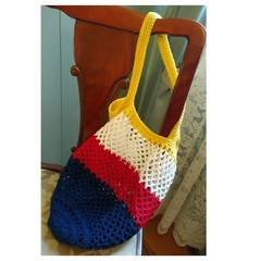 Crochet Mesh Market Bag - Red, White, Blue & Yellow