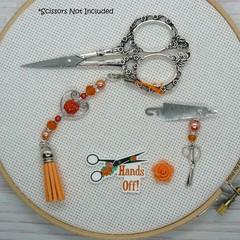 Peach Rose Hands Off Needlework Set: Scissor Fob, Needle Minder, Needle Threader