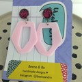 Pastel pink geometric acrylic with leopard print earrings