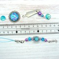 Blue & Purple Mermaid Needlework Set:Scissor Fob, Needle Minder, Needle Threader