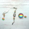 Rainbow Mermaid Needlework Set: Scissor Fob, Needle Minder, Needle Threader