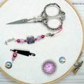 Purple & Fuchsia Mermaid Needlework Set: Scissor Fob, Needle Minder, Threader