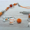 Peach Rose Hands Off Needlework Set: Scissor Fob, Needle Minder, Needle Threader