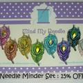 Needle Minder Set | Peacock Feather | Needleminder | Magnet for Cross Stitch, Em