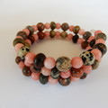 Coral & Jasper Gemstone Wrap Bracelet
