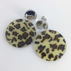 Acrylic animal print disc earrings
