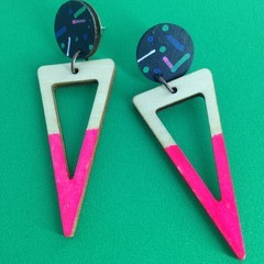 Handpainted triangle wood earrings