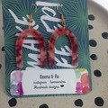 Acrylic red marbled horseshoe earrings