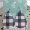 Faux leather black & white gingham earrings