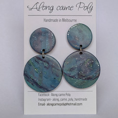 Aurora, polymer clay stud drop earrings.