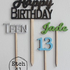 Personalised Timber Cake Topper Set
