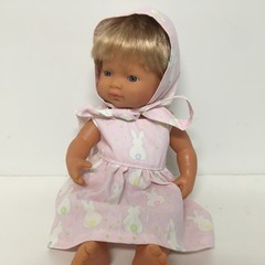 Miniland Dolls Easter Dress and Bonnet to fit 38cm Dolls