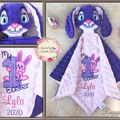 My 1st Easter 'Ruggybud' - personalised, comforter, keepsake, lovey.