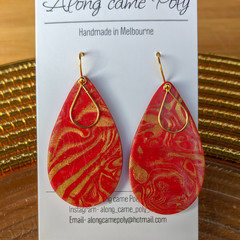 Romance me, polymer clay, tear.drop shape earrings.