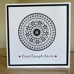 Live Laugh Love. Handmade card
