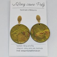 Hazel, polymer clay drop earrings.