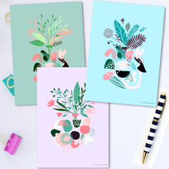 Abstract Bouquets Note Card Set
