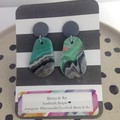 Green/charcoal grey/salmon/white polymer clay earrings