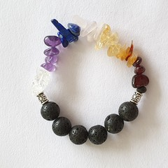 Chakra and Lava Stone Bracelet