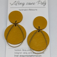 Mustard must haves, polymer clay stud drops.