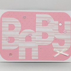 Baby Card - Textured Pink  with large letters