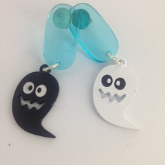 Acrylic pale blue with black & white alloy ghost earrings